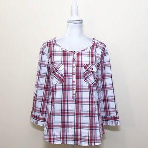 Venus 10 Shirt Plaid 3/4 Sleeves Popover Pockets